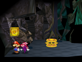 Mario next to the Shine Sprite down the pipe outside Creepy Steeple in Paper Mario: The Thousand-Year Door.