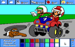 Mario and Luigi as race car drivers and Rocky Wrench as a mechanic.