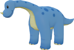 Render of the 3D model of a light blue Noshi in Mario Kart Tour.