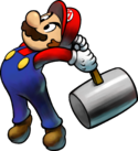 Artwork of Mario and Luigi using their hammers from Mario & Luigi: Superstar Saga + Bowser's Minions