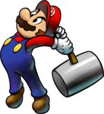 Artwork of Mario from Mario & Luigi: Superstar Saga + Bowser's Minions