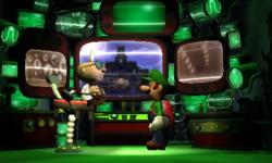 A screenshot of a Luigi's Mansion: Dark Moon cutscene involving Professor E. Gadd and Luigi, showing an earlier version of the Bunker.