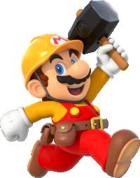 Artwork of Builder Mario in Super Mario Maker 2