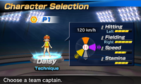 Princess Daisy's stats in the baseball portion of Mario Sports Superstars