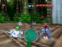 Screenshot of the duel in Jungle Falls from Mario Party 5