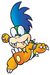 Super Mario World: Artwork of Larry Koopa, having four visible fangs from his mouth