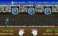Gameplay of the second mode, Underground World, in the MS-DOS version of Mario Teaches Typing