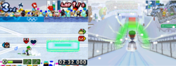 Luigi competing in both rounds of Nordic Combined