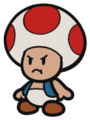 An angry Toad in Paper Mario: Color Splash