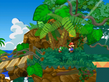 Mario next to the Shine Sprite behind the leaves of the tree to the right of the bridge in Keelhaul Key in Paper Mario: The Thousand-Year Door.