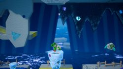 Slip-Slide Isle, the second level of Chilly-Hot Isles in Yoshi's Crafted World.
