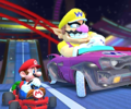 The icon of the Wario Cup challenge from the 2019 Halloween Tour and the Peach Cup challenge from the Berlin Tour in Mario Kart Tour