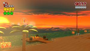 Luigi sighting in Towering Sunshine Seaside in Super Mario 3D World.