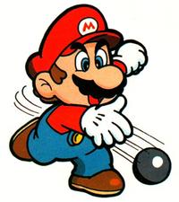 Superball Mario tossing one of his Superballs in this piece of Super Mario Land artwork.