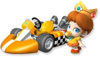 Artwork of Baby Daisy with her kart from Mario Kart Wii