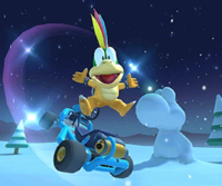The icon of the Lemmy Cup challenge from the Ice Tour and the Waluigi Cup challenge from the Wedding Tour in Mario Kart Tour