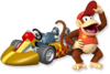 Artwork of Diddy Kong and his standard kart from Mario Kart Wii