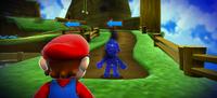 Mario encounters Cosmic Mario at the Honeyhive Galaxy, in Super Mario Galaxy.