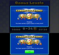 Congratulatory message after earning a gold trophy in every level