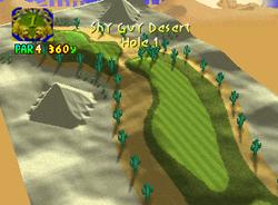 Hole 1 of Shy Guy Desert from Mario Golf