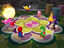 Luigi, Wario and Birdo lose in Bob-ombic Plague from Mario Party 7