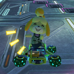Isabelle performs a trick.