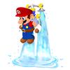 Mario uses F.L.U.D.D.'s Hover Nozzle in Super Mario Sunshine.