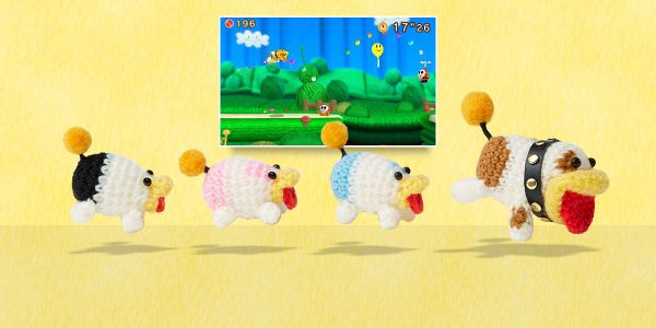 Banner for a Play Nintendo opinion poll on which is the best Poochy Dash level in Poochy & Yoshi's Woolly World. Original filename: <tt>2x1-PYWW_Pups_find_PPGoORE.0290fa98.jpg</tt>