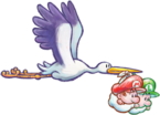 Artwork of a Stork carrying Baby Mario and Baby Luigi, from Yoshi's New Island.