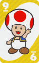 The Yellow Nine card from the UNO Super Mario deck (featuring Toad)