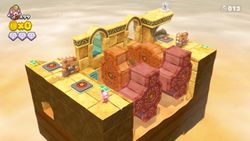 Overview of the Spinwheel Cog Ruins stage in Captain Toad: Treasure Tracker.
