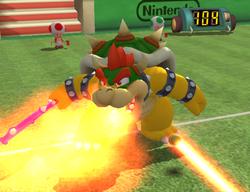 Bowser using his Fire Breath Power Shot in Mario Power Tennis