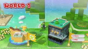 Hidden Luigi found on the World 1 map in Super Mario 3D World.