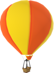 Rendered model of a yellow Hot-air balloon in Mario Kart Tour.