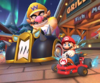 Thumbnail of the Peachette Cup challenge from the Vancouver Tour; a vs. Mega Wario bonus challenge set on Vancouver Velocity (Later reused for the 2nd Anniversary Tour's Toad Cup).