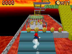 Mario in Bowser in the Fire Sea