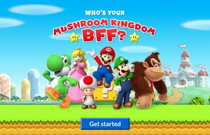 Title screen for the Who's Your Mushroom Kingdom BFF? activity on Play Nintendo