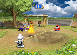 Dry Bones knocks Daisy away in Chump Rope from Mario Party 8.