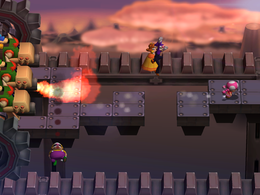 Wario gets burnt in Funstacle Course! from Mario Party 7