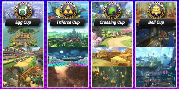 Banner for a Play Nintendo opinion poll on the Bell Cup, Egg Cup, Crossing Cup and Triforce Cup from Mario Kart 8 Deluxe. Original filename: <tt>2x1-Cup_poll_G2F7Zx1.0290fa98.jpg</tt>