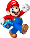 Artwork of Mario holding a Dice Block from Mario Party: Island Tour.