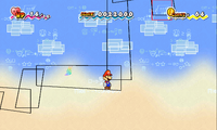 Mario being flipped along with strange rectangles on Mount Lineland.