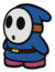 A blue Shy Guy in Paper Mario: Color Splash.