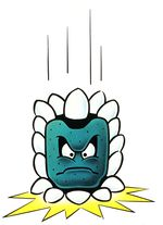 Artwork of a Thwomp from Super Mario Bros. 3, later reused for Super Mario World.