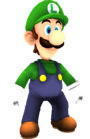 Rendered model of Luigi in Super Mario Galaxy. Luigi has two models in Super Mario Galaxy: one as an NPC, and one as a playable character derived from Mario's model.