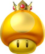 Artwork of a Golden Dash Mushroom from Super Mario Party