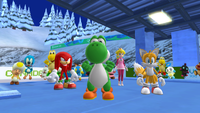 Yoshi, Knuckles, Tails, and Peach from Mario & Sonic at the Olympic Winter Games.