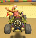 Dixie Kong performing a trick.