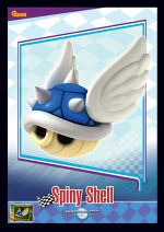 The Spiny Shell card from the Mario Kart Wii trading cards