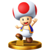 Toad's trophy render from Super Smash Bros. for Wii U